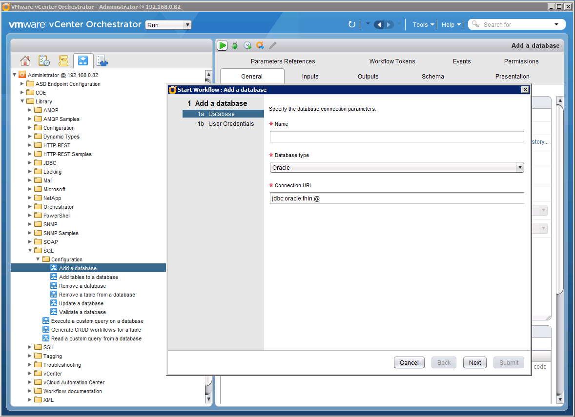 Connecting vCenter Orchestrator to the WFA database
