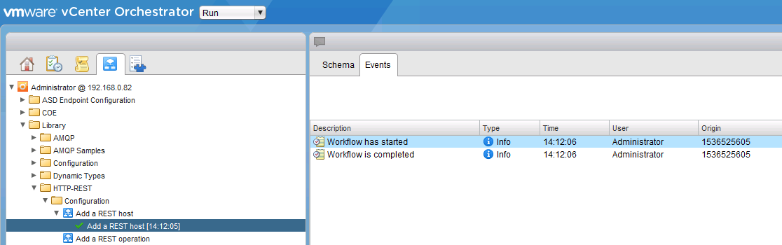 Executing WFA workflows from vCenter Orchestrator using REST